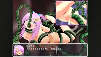 Defeated by a monster and bound by tentacles, the heroine is given an enema and defecates in her diaper.
